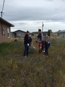 Laurel, Alissa, and Jake picking up trash with site director Brad.