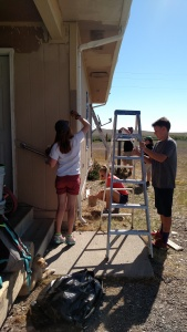 Alissa and Jake painting the trim on the house.