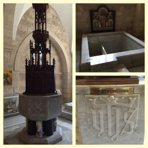 The cathedral baptistry and full immersion baptismal font.