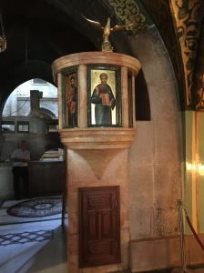 Pulpit near the Altar of the Crucifixion in the Holy Sepulchre