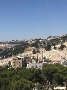 Looking out towards the Mount of Olives...a view that shows the three religions in the region; on the right is the Israeli flag, in the middle is a mosque and to the left are the golden domes of a Russian Orthodox church.