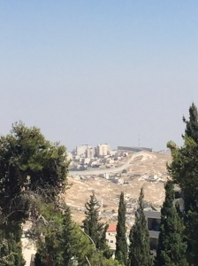 The wall that is still being built to divide the land between Israeli and Palestinian control.
