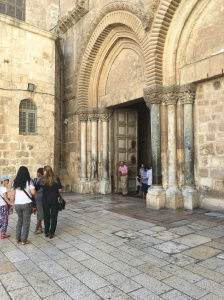 The main entrance into the Holy Sepulchre.