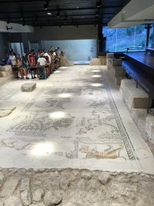 The large mosaics covering the floor of the ancient synagogue in Sepphoris.