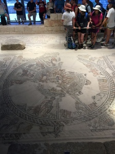 The Zodiac Calendar on the floor of the synagogue.