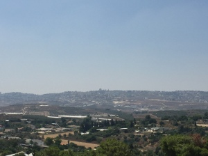 The view from the roof east...on the horizon are the tallest buildings of Haifa, which is on the coast!