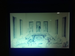 A drawing of what the room would have looked like during its use.