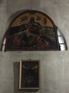 An icon above the door leading to the Greek and Armenian Chapels.