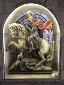 St. George and the Dragon, the patron saint of Palestine.