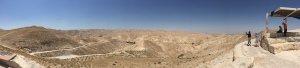 A panoramic view of the Judean Wilderness outside Jericho.