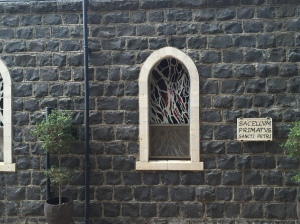 The sign on the church.