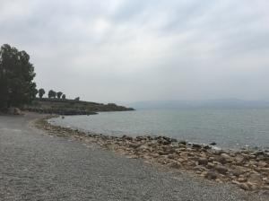 The shoreline along the church property.