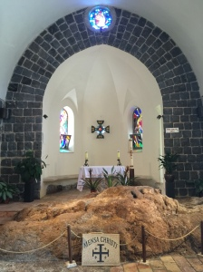 Inside the Mensa Christi Church and the rock upon which Jesus prepared breakfast for the disciples during his post-resurrection appearance.