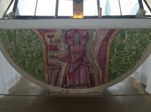 The mosaic altar in the church at Capernaum.
