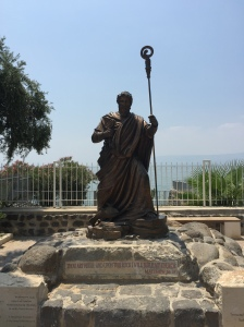 A statue of Petros (Peter) upon whom the church was built.
