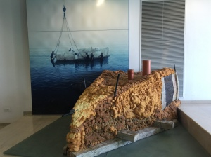 A recreation of the materials used to seal the boat in order to move it.