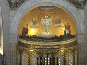A giant mural of the Transfiguration above the high altar in the sanctuary.