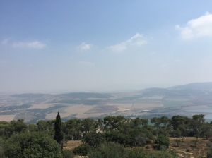 A view out over the Jezreel Valley from the ramparts of the church.