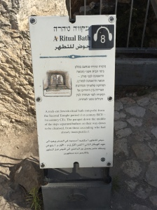 The sign describing the mikveh outside the Temple Mount