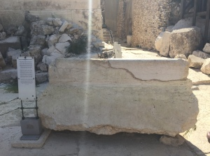 A replica of the Trumpeter's Stone from which calls to prayer and worship were given...the original is in the Israeli Museum.