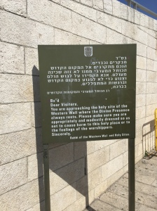 A sign for the Western (Wailing) Wall.
