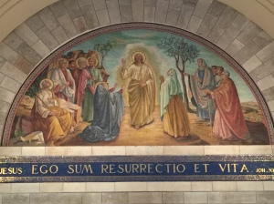The mural above the altar in the sanctuary of the Church of Saint Lazarus.