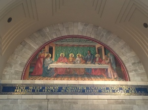 The mural depicting the story of the anointing of Jesus, along with Lazarus, and Mary and Martha, this is the third story situated in Bethany and remembered in this church.