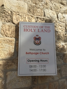 The sign for Bethphage Church where Jesus mounted the donkey for his entrance into Jerusalem.