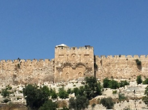 Our view across to the walls of the Old City from the steps of the church.