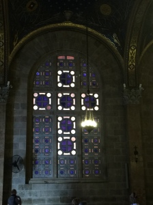 One of the many cross windows throughout the church.