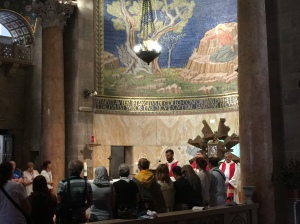 The mass that was taking place while we were there.