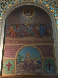 A mural from the first level of the church.