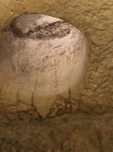 Another view inside the pit...notice the crosses etched into the vent shaft dating from the Byzantine Era.