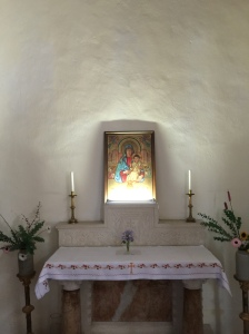 The simple altar in this huge church for just five nuns.