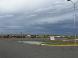The view out from the school.  The evening clouds were coming in and the temperature was dropping fast.